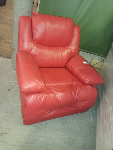 Lot 1139 DESIGNER RED FAUX LEATHER RECLINING CHAIR