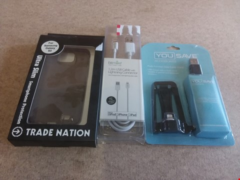Lot 650 A BOX OF APPROXIMATELY 20 BRAND NEW ITEMS TO INCLUDE A 1.2M USB CABLE WITH LIGHTNING CONNECTOR, A ULTRA SLIM SMARTPHONE PROTECTOR AND A MULTI-FUNCTION DATA CABLE STAND