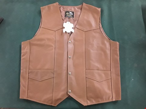 Lot 1082 RIXOM TAN LEATHER FULLY LINED WAISTCOAT WITH BRASS STUD FASTENING SIZE 3XL