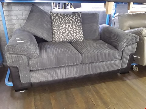Lot 34 DESIGNER BLACK FAUX LEATHER & GREY JUMBO CHORD TWO SEATER SOFA WITH SCATTER CUSHIONS