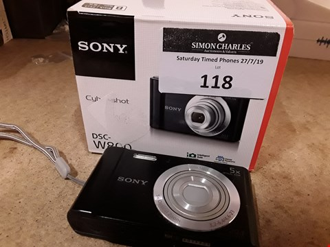 Lot 118 BOXED SONY CYBERSHOT W800 20.1MP CAMERA BLACK WITH PART CHARGER, NO USB CABLE
