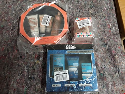 Lot 1797 BOX OF 7 GRADE 1 HEALTH AND BEAUTY ITEMS TO INCLUDE L'OREAL MEN EXPERT ULTIMATE HYDRATION KIT, SANCTUARYS MUST HAVE MINIS AND SANCTUARYS SCRUMPTIOUS SELECTION  RRP £136