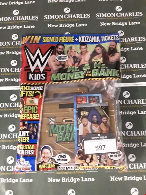 Lot 597 LOT OF 3 ASSORTED ITEMS TO INCLUDE A WWE KIDS MR. MONEY & MS. BANK GIFT PACK AND TWO PACKS OF TOY SOLDIERS