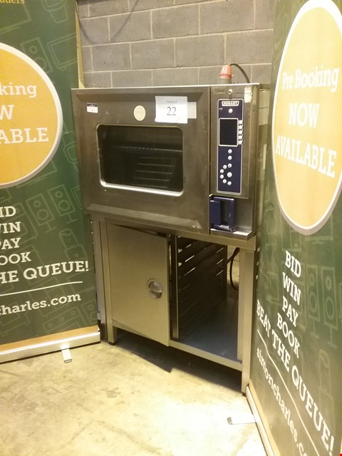 Lot 4 HOBART STAINLESS STEEL 6 TRAY COMBI OVEN ON STAND