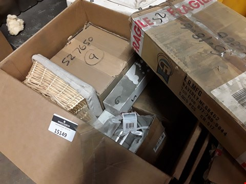 Lot 15149 BOX OF ASSORTED CATERING ITEMS, INCLUDING, FREE FLOW POURERS, CUTLERY, WICKER BASKET, NAPKIN RING SETS.