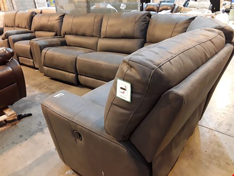 Lot 9037 DESIGNER GREY FAUX LEATHER POWER RECLINING CORNER SUITE & MATCHING EASY CHAIR