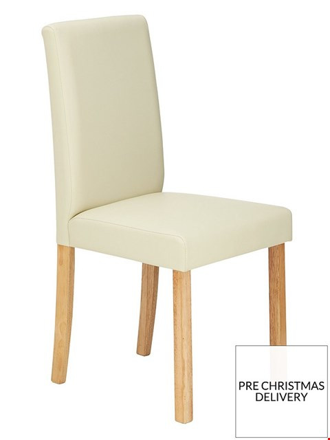 Lot 3577 BOXED SET OF 4 NEW PRIMO CREAM/WALNUT DINING CHAIRS