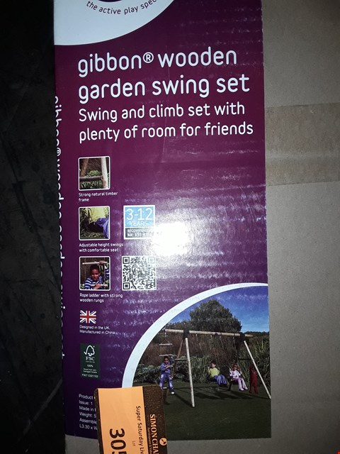 Lot 305 BOXED PLUM GIBBON GARDEN SWING SET (1 BOX No poles, accessories only)