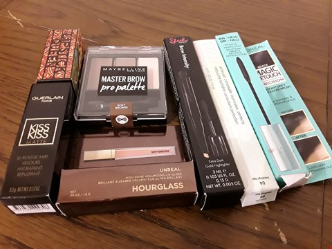 Lot 8015 LOT OF 7 ASSORTED BEAUTY ITEMS TO INCLUDE MAYBELLINE MASTER BROW PALETTE, CLINIQUE AIRBRUSH CONCEALER AND HOURGLASS UNREAL LIP GLOSS