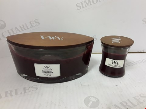Lot 843 WOODWICK SET OF 2 BLACK CHERRY CANDLES