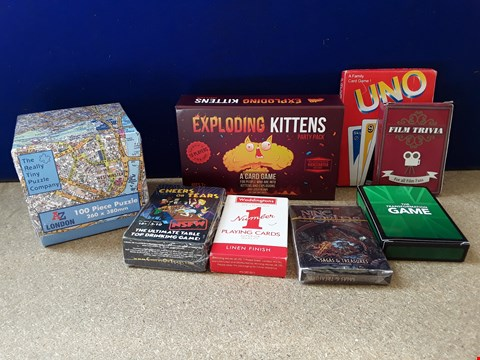 Lot 5055 EIGHT ASSORTED BOXDD GAMES, INCLUDING EXPLODING KITTENS, UNO, ATOZ PUZZLE AND CARD DECK