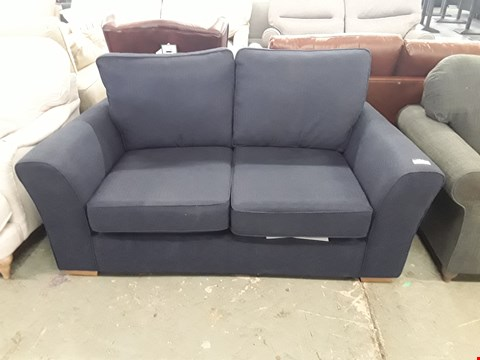 Lot 2 QUALITY BRITISH DESIGNER NAVY BLUE FABRIC LINCOLN 2 SEATER SOFA
