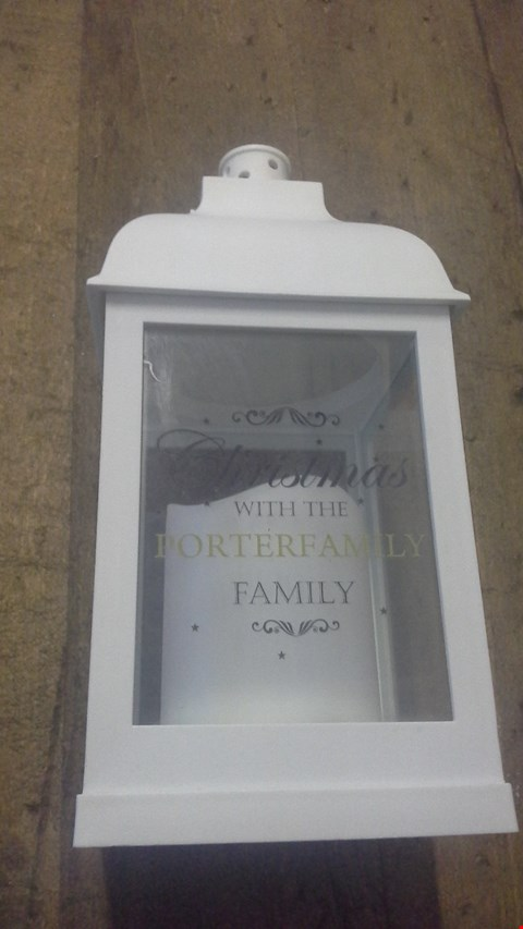 Lot 2511 PERSONALISED WHITE CHRISTMAS LANTERN  RRP £25.00