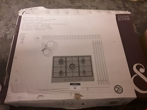 Lot 90 BOXED COOKE & LEWIS 5 BURNET STAINLESS STEEL GAS HOB