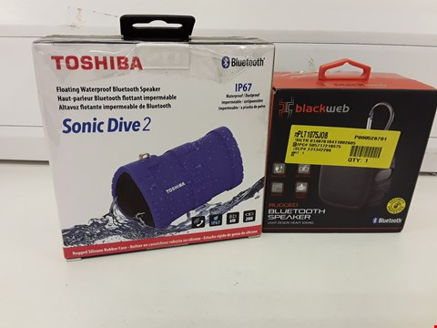 Lot 324 TWO BOXED BLUETOOTH SPEAKERS, BLACKWEB RUGGED & TOSHIBA SONIC DIVE 2 WATERPROOF