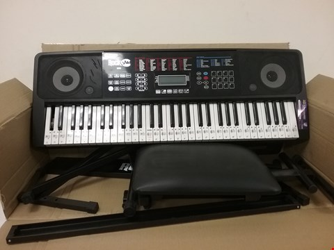 Lot 3180 BOXED ROCKJAM RJ761-SK KEY ELECTRONIC INTERACTIVE TEACHING PIANO KEYBOARD WITH STOOL