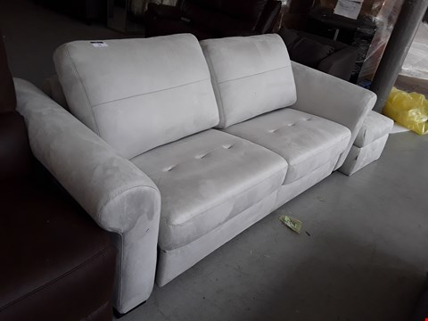 Lot 54 DESIGNER SILVER FABRIC ALLURE 3 SEATER SOFA BED AND ACCOMPANYING STORAGE FOOTSTOOL  RRP £3755.00