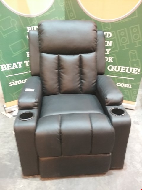Lot 68 DESIGNER BLACK LEATHER RECLINING ARM CHAIR