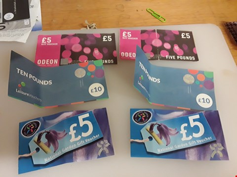 Lot 48 17 ASSORTED GIFT VOUCHERS TO INCLUDE ODEON, LEISURE VOUCHERS AND NATIONAL GARDEN TOTAL VALUE £140