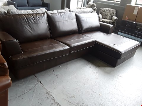 Lot 2005 QUALITY BRITISH DESIGNER, DARK BROWN LEATHER CHAISE SOFA WITH METAL ACTION SOFA BED AND STORAGE