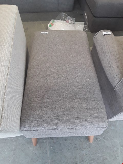 Lot 29 QUALITY BRITISH DESIGNER GREY TWEED FABRIC FOOTSTOOL