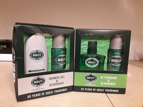 Lot 2042 LOT OF 2 ITEMS TO INCLUDE BRUT SHOWER GEL & DEODERANT SET AND BRUT AFTRESHAVE & DEODORANT SET