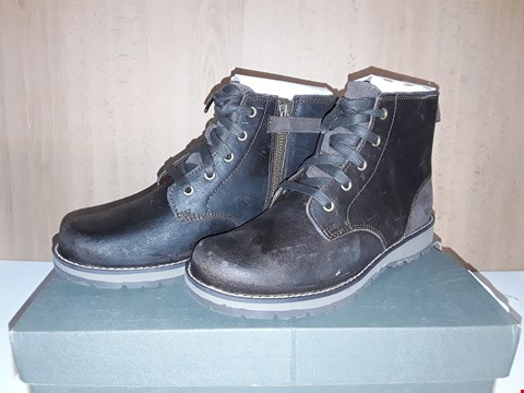 Lot 12733 BOXED TIMBERLAND KIDDER HILL WEDGE DARK LEATHER LACE/ZIP UP BOOTS UK SIZE 4