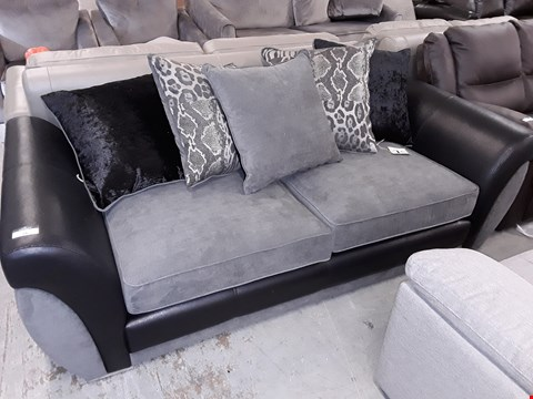 Lot 14 DESIGNER BLACK FAUX LEATHER & GREY FABRIC THREE SEATER DOFA WITH SCATTER CUSHIONS