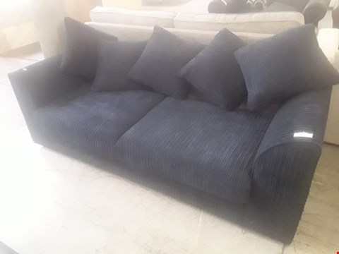 Lot 44 DESIGNER BLACK JUMBO CHORD THREE SEATER SOFA WITH SCATTER CUSHIONS RRP £399.99