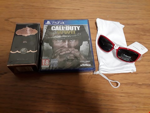 Lot 7120 BOX OF 5 ASSORTED BRAND NEW ITEMS TO INCLUDE TED BAKER ELLA 30ML EAU DE TOILETTE, CALL OF DUTY WW2 PS4 GAME, POLAROID BOYS SUNGLASSES RRP £238