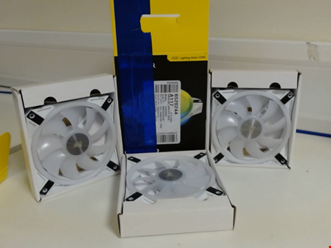 Lot 15194 CORSAIR ICUE QL120 RGB, 120 MM RGB LED PWM FANS (102 INDIVIDUALLY ADDRESSABLE RGB LEDS, SPEEDS UP TO 1,500 RPM, LOW-NOISE) TRIPLE PACK WITH ICUE LIGHTING NODE CORE INCLUDED - WHITE