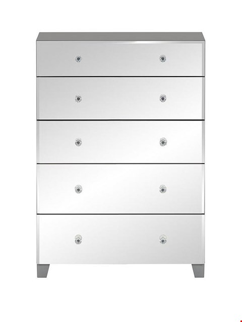 Lot 7122 BOXED GRADE 1 BELLAGIO 5 DRAWER CHEST GREY/MIRRORED