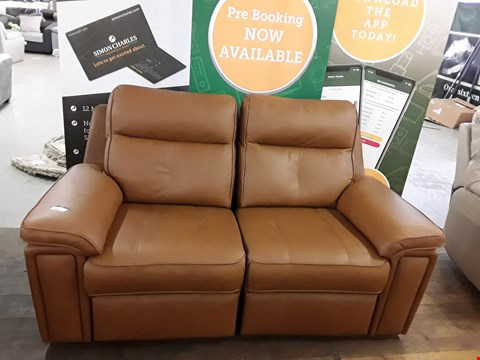 Lot 8011 QUALITY DESIGNER BRITISH MADE WOODEN FRAME TAN BROWN LEATHER ELECTRIC RECLINING 2 SEATER SOFA
