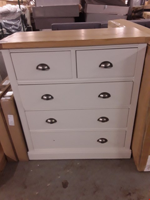 Lot 86 DESIGNER PAINTED WOOD AND OAK FINISH 2 & 3 DRAWER CHEST