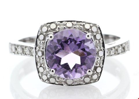 Lot 6 9ct WHITE GOLD AMETHYST (1.65ct) DIAMOND RING (0.08ct) RRP £1895