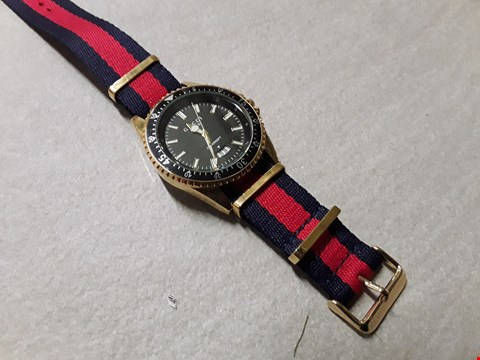 Lot 6018 GUCCI STYLE BLACK FACED WATCH WITH FABRIC STRAP