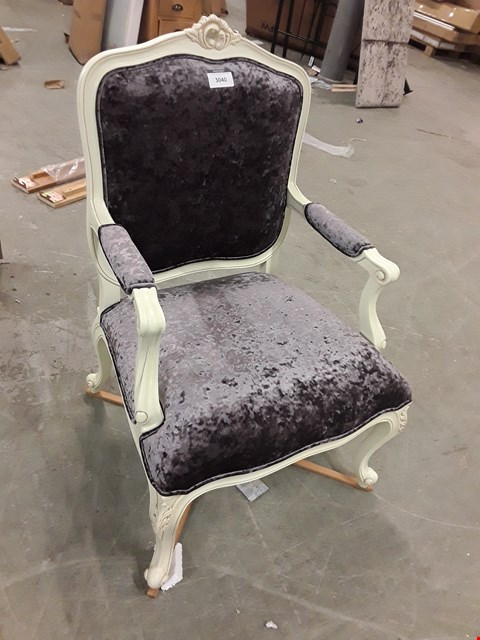Lot 3040 CONTEMPORARY DESIGNER PAINTED ARMCHAIR WITH SCRIVA HEATHER FABRIC  RRP £649.00