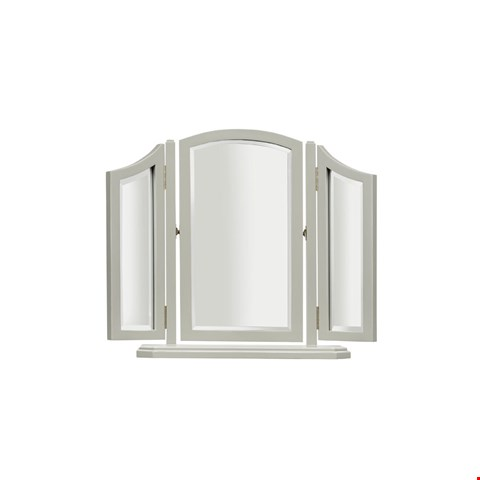 Lot 3084 CONTEMPORARY DESIGNER BOXED ABELLA TRI-FOLD DRESSING MIRROR IN A  A CLOUD FINISH