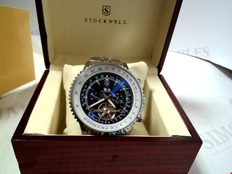 Lot 5644 DESIGNER STOCKWELL AUTOMATIC MOONPHASE DIAL STAINLESS STRAP WRISTWATCH RRP £750.00
