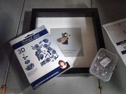 Lot 8090 BOX OF ASSORTED ITEMS TO INCLUDE - LEGO PICTURE FRAME - TATTERD LACE 3D DECOUPAGE - PINS