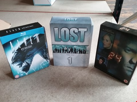 Lot 3002 BOX OF APPROXIMATELY 11 DVD SEASON BOX SETS TO INCLUDE LOST 1-6, ALIEN ANTHOLOGY AND 24 SEASON FOUR