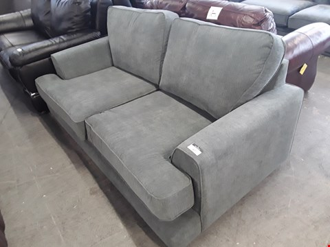 Lot 67 DESIGNER GREY/GREEN FABRIC 3 SEATER SOFA