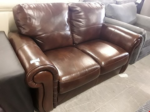 Lot 96 DESIGNER CASSINA CHESTNUT LEATHER TWO SEATER SCROLL ARM SOFA