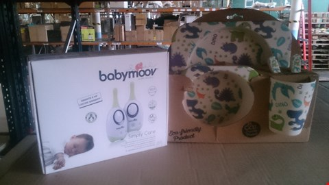 Lot 5594 BOX OF ASSORTED BABY ITEMS TO INCLUDE BABY MOOV MONITOR AND ECO FRIENDLY DINO DINING SET