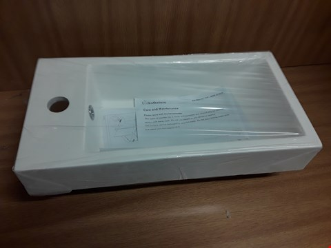 Lot 401 BOXED ALPINE POLY MARBLE 1-TAP BASIN WITH OVERFLOW - 495 X 250 X 80MM RRP £90