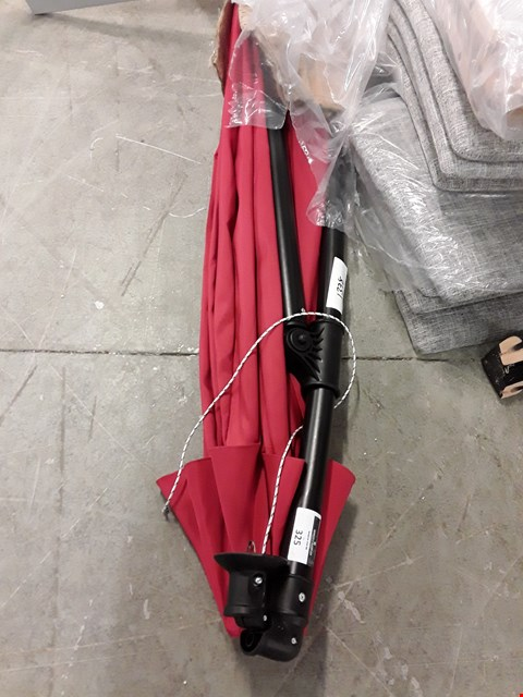 Lot 325 DESIGNER RED FABRIC AND BLACK METAL CANTILEVER PARASOL