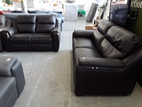 Lot 2 QUALITY ITALIAN DESIGNER BLACK LEATHER POWER RECLINING 3 SEATER SOFA AND FIXED 2 SEATER SOFA