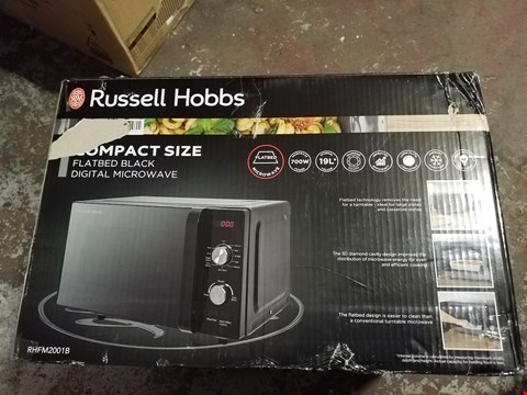 Lot 273 RUSSELL HOBBS RHFM2001B FLATBED MICROWAVE, 19 LITRE, BLACK