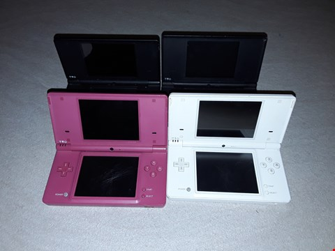 Lot 6008 LOT OF 4 ASSORTED COLOURED NINTENDO DS HANDHELD CONSOLES