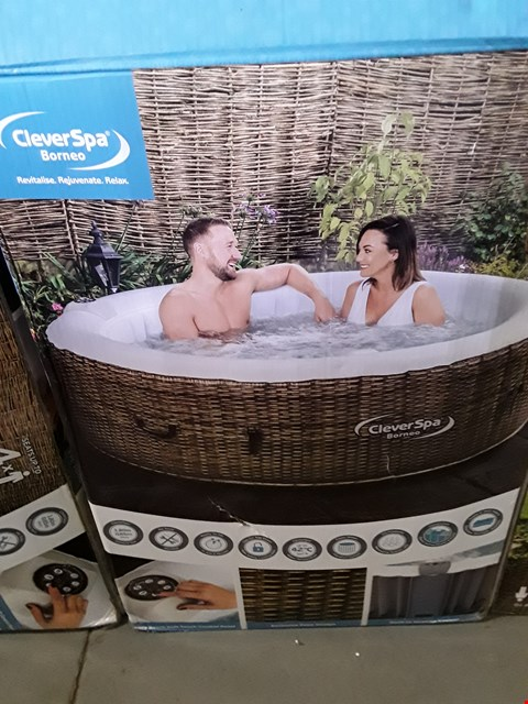 Lot 13159 BOXED CLEVERSPA BORNEO UP TO 4 PERSON INFLATABLE HOT TUB